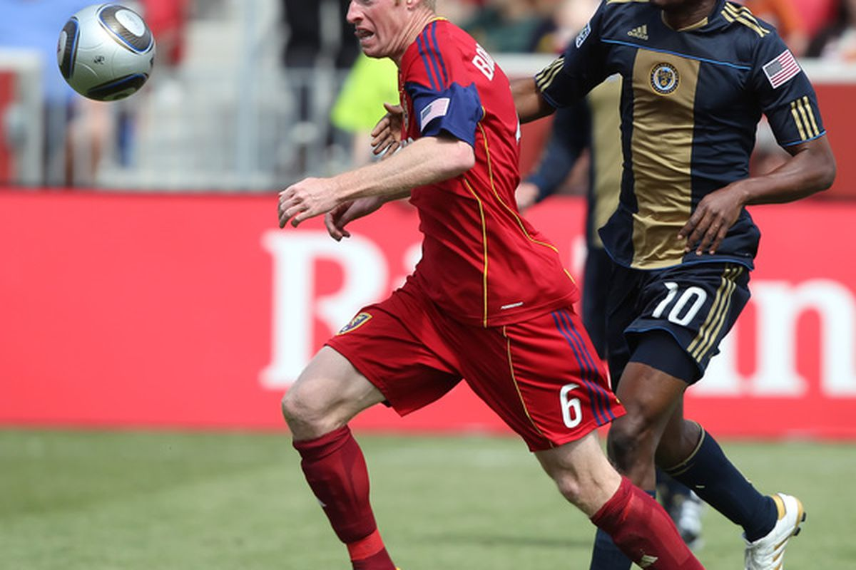 SANDY, UT-MAY 8: Nat Borchers #6 of Real Salt Lake chases the ball past past Danny Mwanga #10 of Philadelphia Union during the second half of an MLS soccer game in Rio Tinto Stadium May 8, 2010 in Sandy, Utah. (Photo by George Frey/Getty Images)