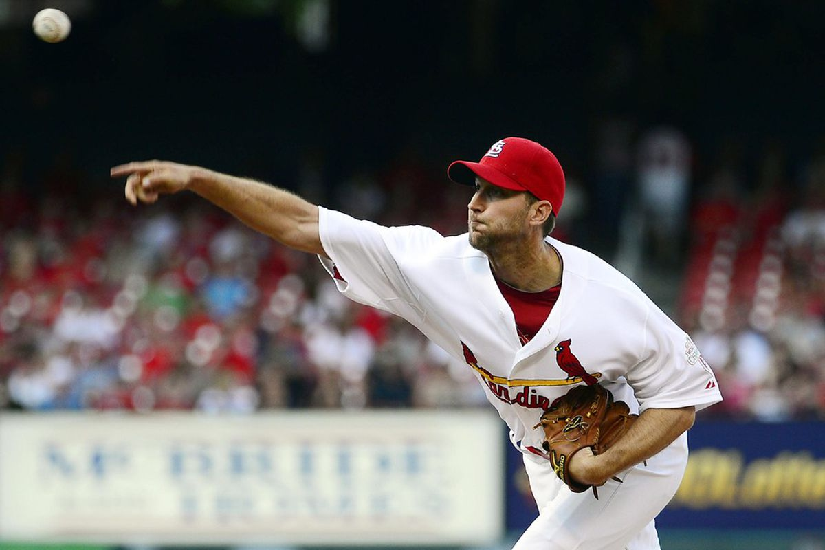 May 12, 2012; St. Louis, MO, USA; St. Louis Cardinals starting pitcher Adam Wainwright (50) delivers a pitch against the Atlanta Braves at Busch Stadium. Mandatory Credit: Scott Rovak-US PRESSWIRE
