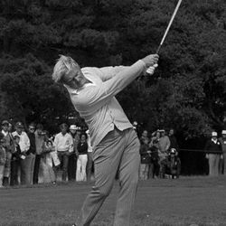 """File-This June 19, 1972 file photo shows Jack Nicklaus lashing  an iron off the 17th tee to the green during the final round of the U.S Open at Pebble Beach, Calif. """"I can still feel it, it feels the same,"""" Nicklaus said Monday April, 16, 2012 at a charity luncheon affiliated with the Memorial Tournament, which he founded and hosts. """"You can still feel the shot, the way it came off your hands, 30 or 40 years later. I still have that same feeling. I haven't matched it lately. I do know that feeling, though. And it's kind of fun to know what it feels like in golf."""" The years have not dimmed the sweet spot he hit on the 1 iron that he drilled through the wind and off the pin at 17 to take the 1972 U.S. Open at Pebble Beach, or the 5 iron with a slight draw at 16 that helped him win the 1986 Masters at age 46."""