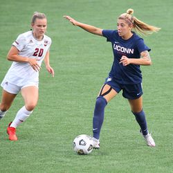 UConn's Duda Santin #99 during the UMass Minutewomen vs the UConn Huskies at Morrone Stadium at Rizza Performance Center in an exhibition women's college soccer game in Storrs, CT, Monday, August 9, 2021.