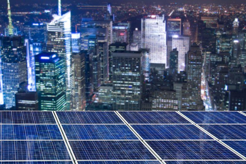 Solar panels over New York City.