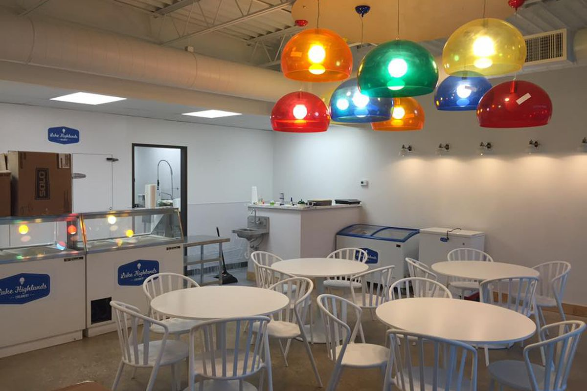 A bright & cheery interior for the new Lake Highlands Creamery.