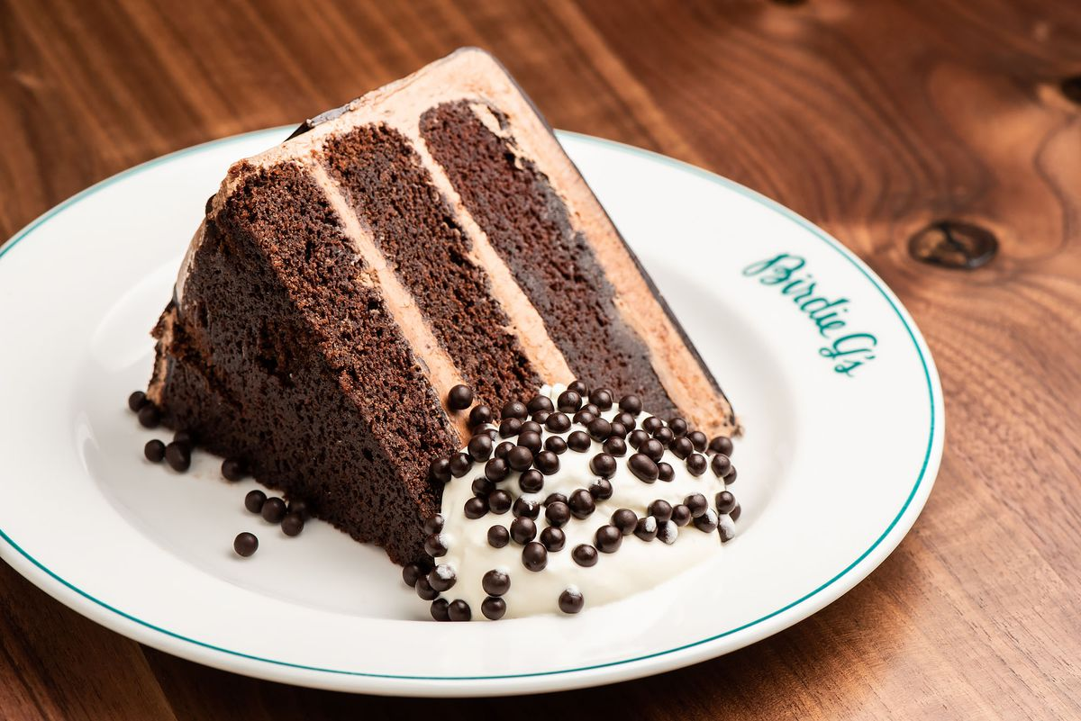 A slice of malted chocolate cake at Birdie G's.