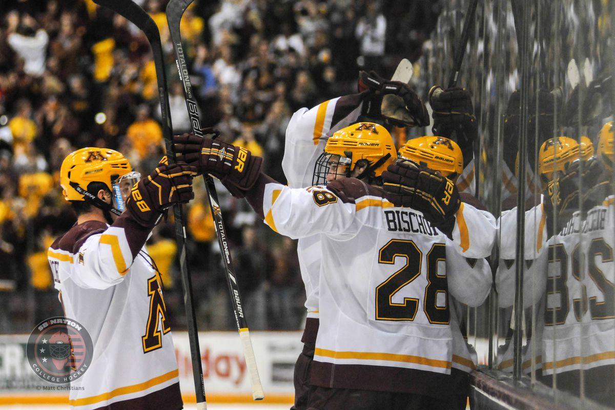 Minnesota celebrating one of its 6 goals Friday night