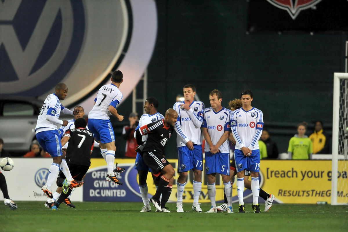 WASHINGTON, DC - APRIL 18:  Players of Montreal Impact and D.C. United react to a free kick at RFK Stadium on April 18, 2012 in Washington, DC. Montreal Impact tied D.C United 1-1. (Photo by Larry French/Getty Images)