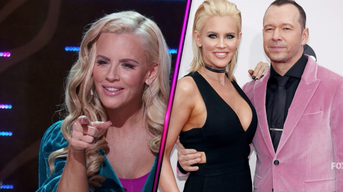Jenny McCarthy on one side, next to a picture of her and her husband, Donnie Wahlberg