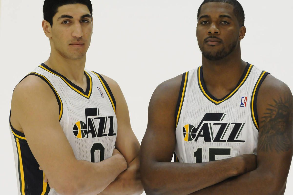 The Jazz's Enes Kanter, left, and Derrick Favors pose for a picture during media day at the Zions Bank Basketball Center on Monday, September 30, 2013.