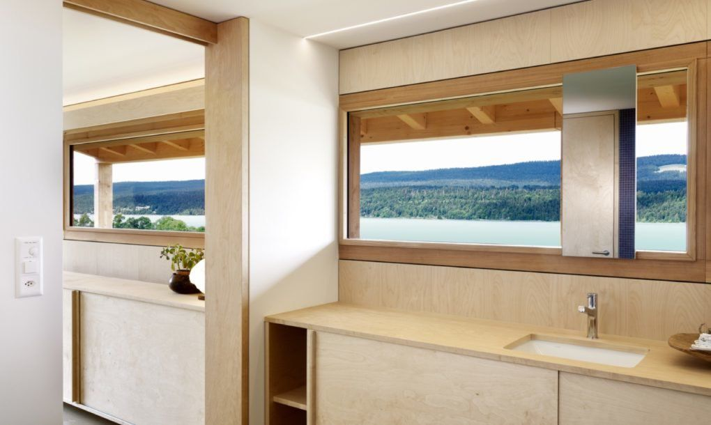 Kitchen looking out onto lake