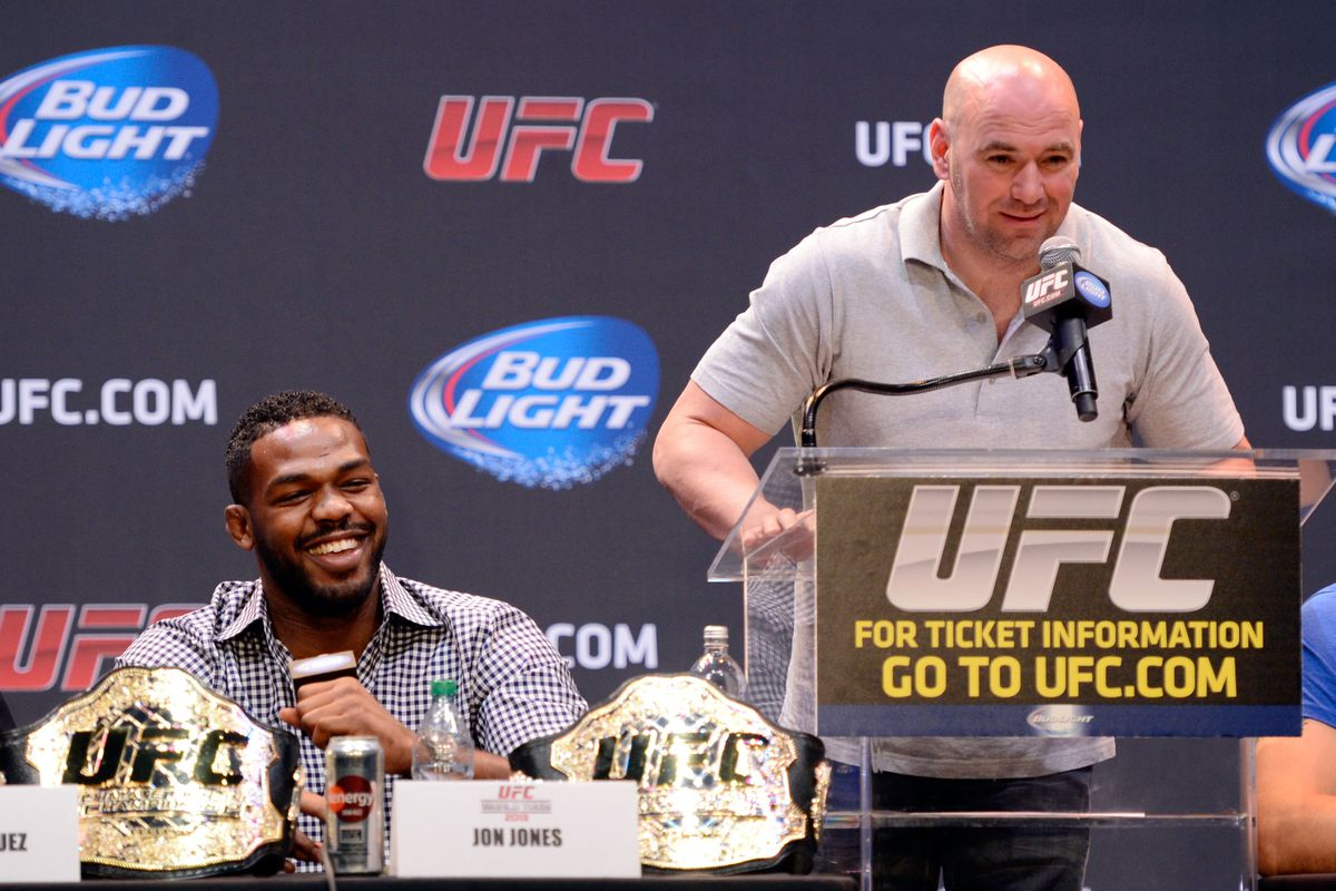 UFC President Dana White and Jon Jones at a press conference in 2013.