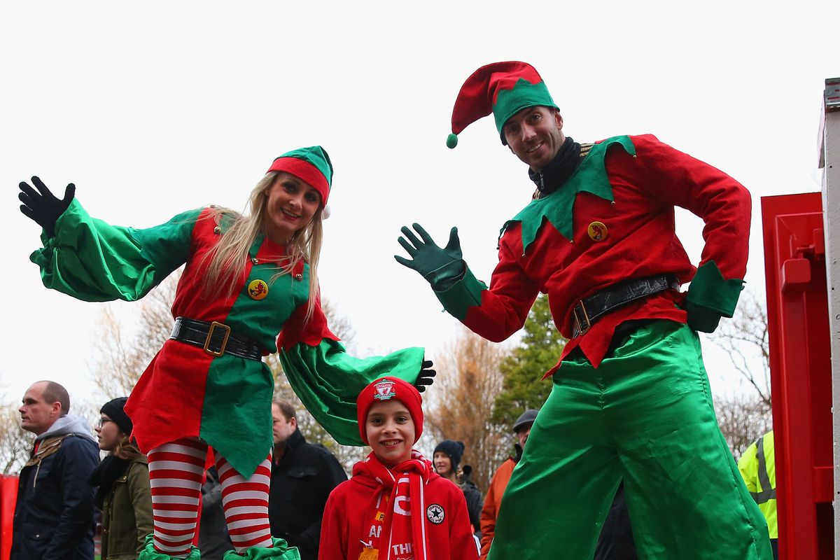 These scary-ass elves are part of the Anfield game-day festivities.