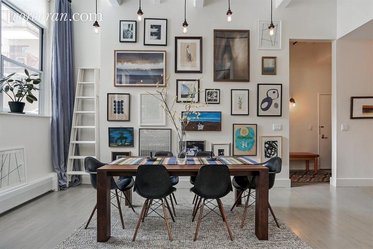 arty loft dining room in Bed Stuy