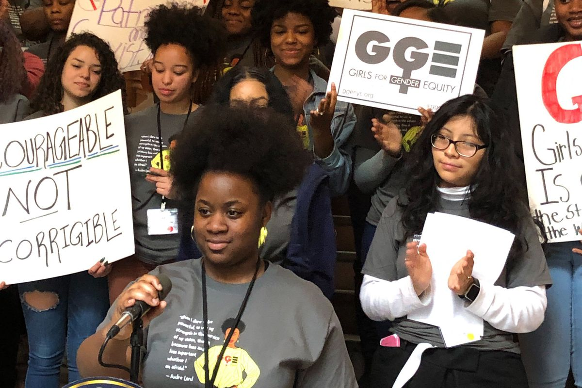 Young leaders with Girls for Gender Equity hold a rally in Albany, March 10, 2020.