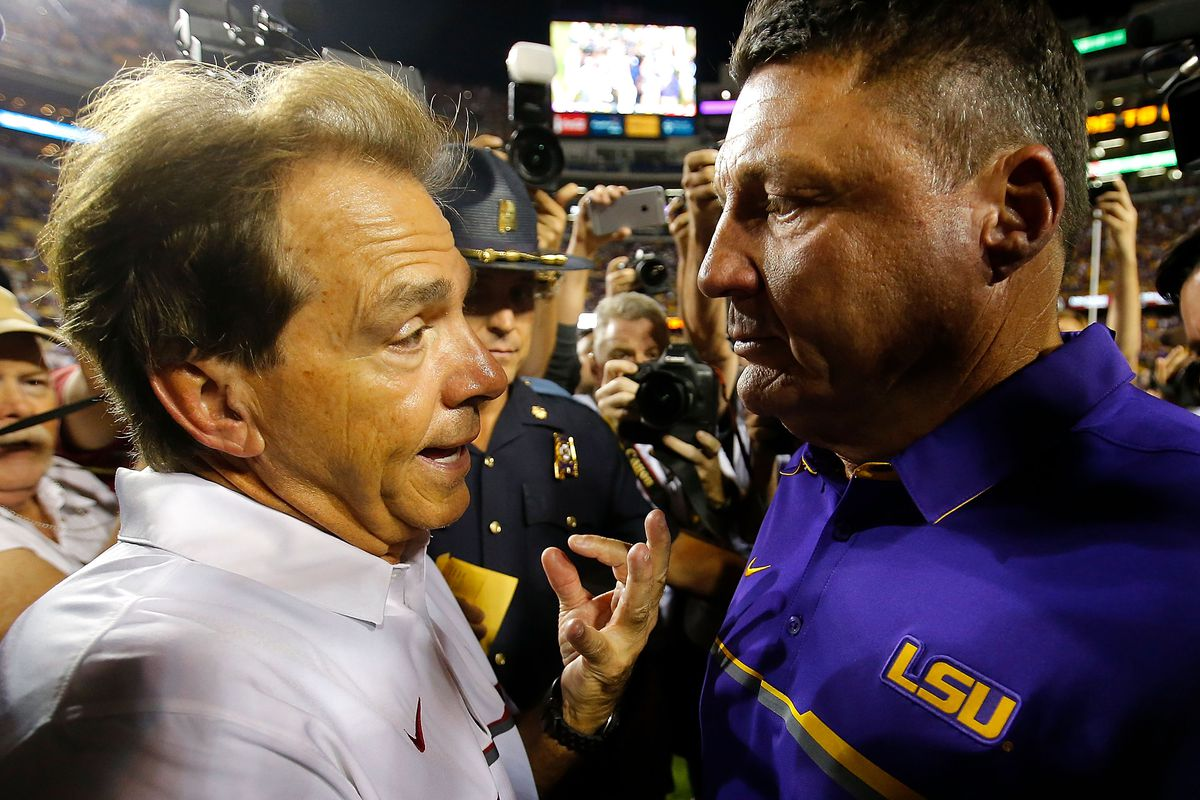 Head coach Nick Saban of the Alabama Crimson Tide shakes hands with head coach Ed Orgeron of the LSU Tigers after their 10-0 win at Tiger Stadium on November 5, 2016 in Baton Rouge, Louisiana.