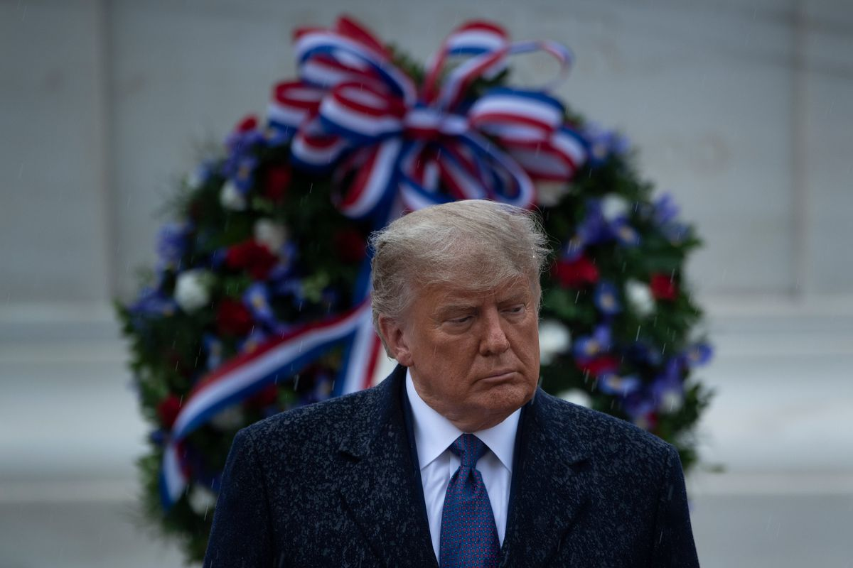 President Trump standing in front of a memorial wreath at Arlington Cemetery on Veterans Day.