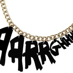 """Tatty Devine necklace, <a href=""""http://www.shopjeen.com/collections/jewelry/products/aarrghhhh-necklace"""">$90</a> at Shop Jeen"""