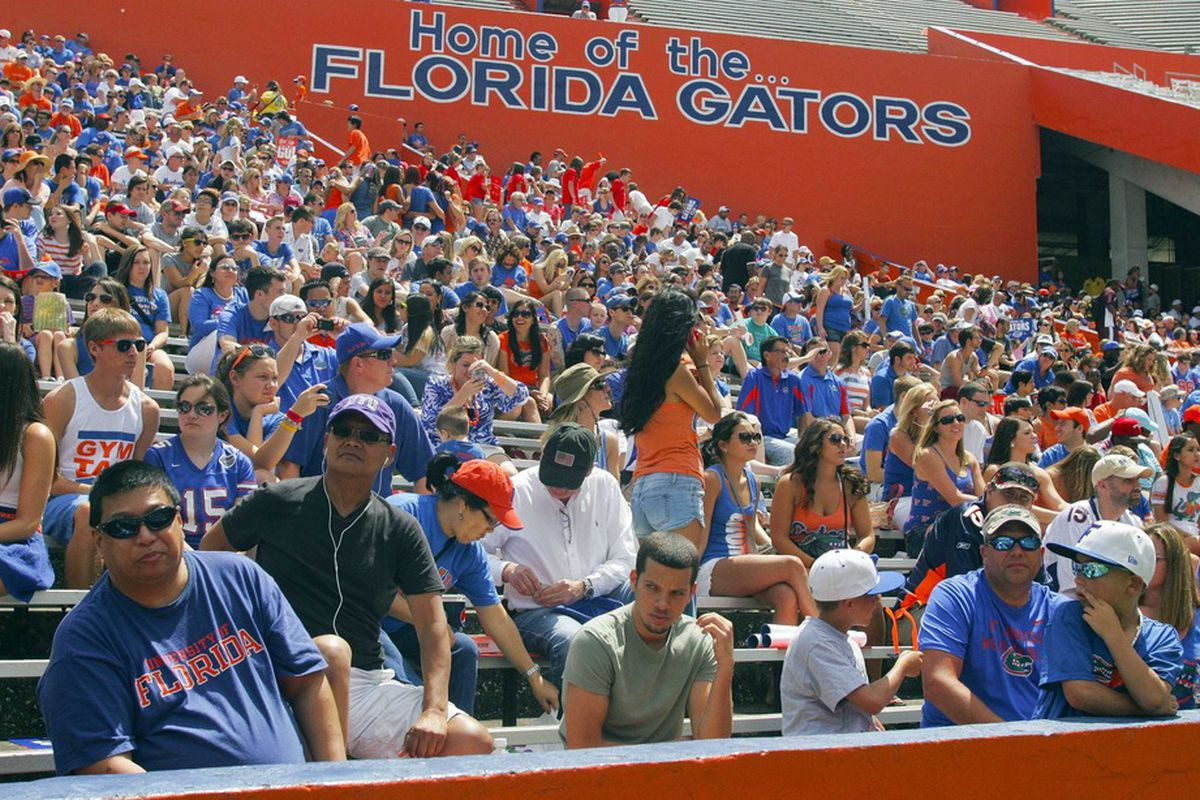 April 7, 2012; Gainesville FL, USA; A general view as fans await the start of their Florida Gators spring game at Ben Hill Griffin Stadium. Mandatory Credit: Phil Sears-US PRESSWIRE