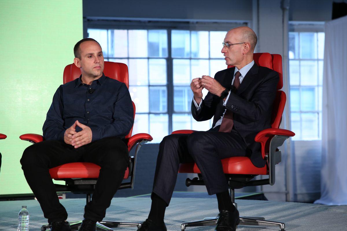 Fanatics' Michael Rubin (left) and NBA Commissioner Adam Silver onstage at Code Commerce