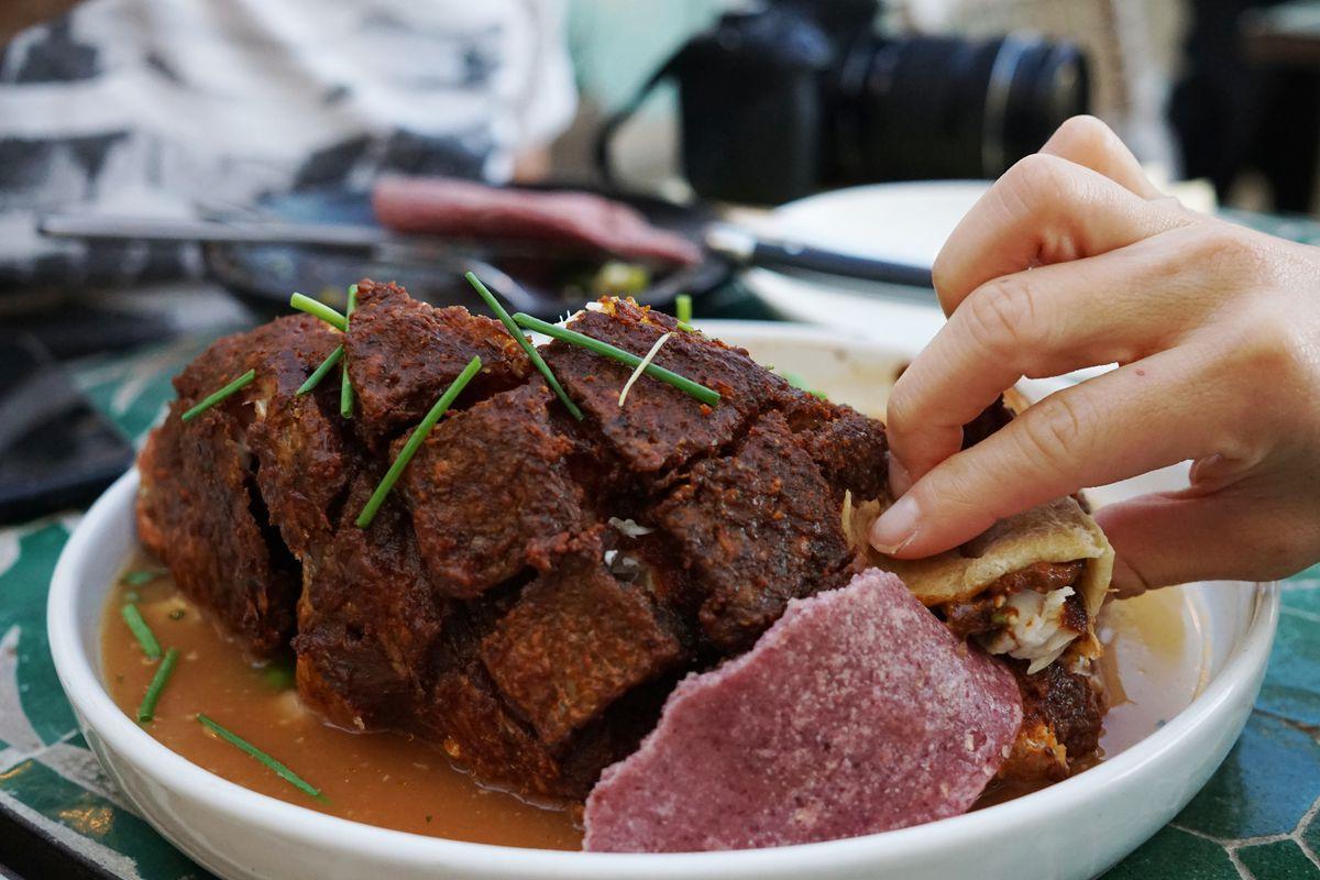 Celebrity Dining: Pulling off the crisp skinned, subtle flesh of fried Baja snapper at Mírame.