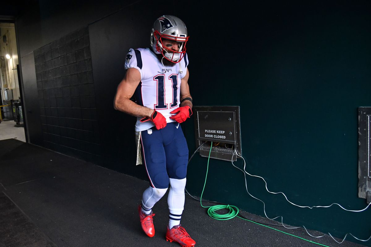 New England Patriots wide receiver Julian Edelman walks through the tunnel onto the field against the Philadelphia Eagles at Lincoln Financial Field.