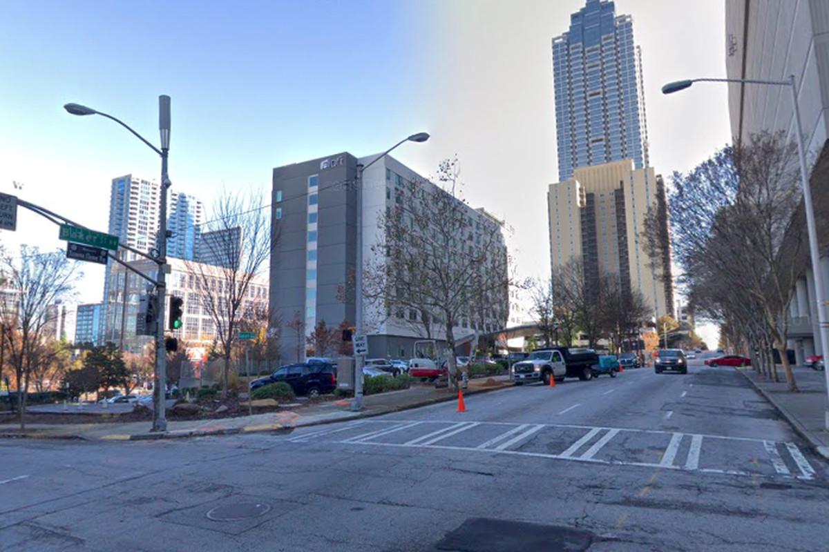 Baker Street, just east of Centennial Olympic Park, as seen last December.