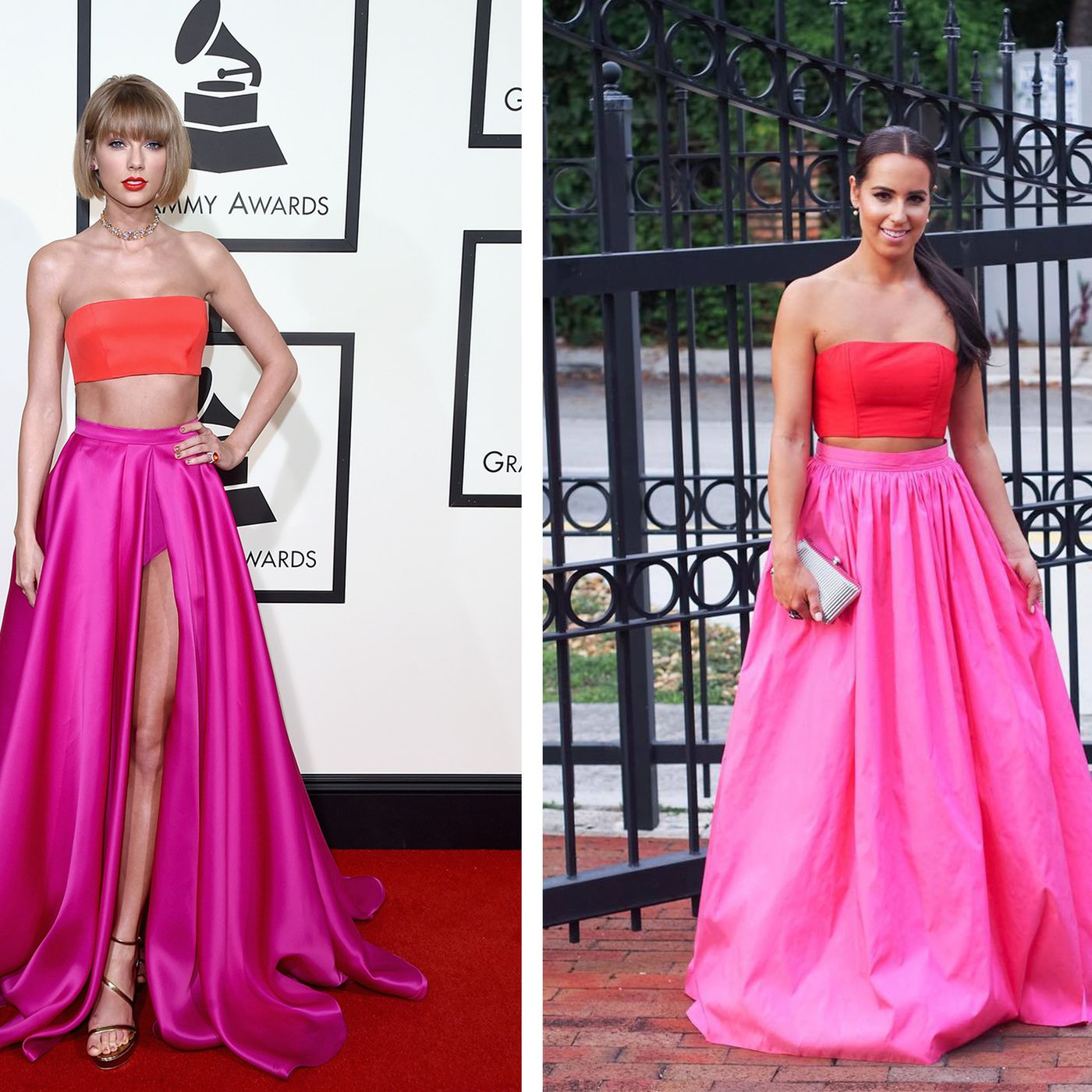 taylor swift s grammys 2016 dress looks way too similar to this miami blogger s gown racked miami taylor swift s grammys 2016 dress looks