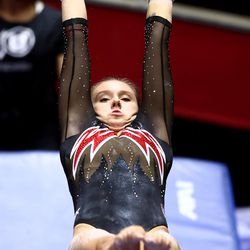 Maile O'Keefe performs her bars routine as Utah and Washington compete in an NCAA gymnastics meet at the Huntsman Center in Salt Lake City on Saturday, Jan. 30, 2021. No. 4 Utah won 197.475 to 193.300.