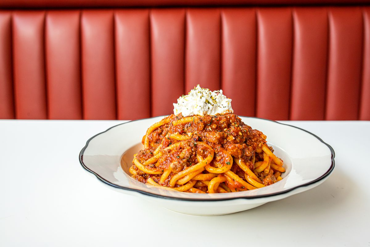 Bucatini in a spicy Neapolitan ragu from Caruso's Grocery