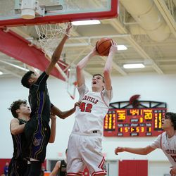 Deerfield's Brandon Lieb (42) shoots over Rolling Meadows' Max Christie (12), Wednesday 02-06-19. Worsom Robinson/For the Sun-Times.