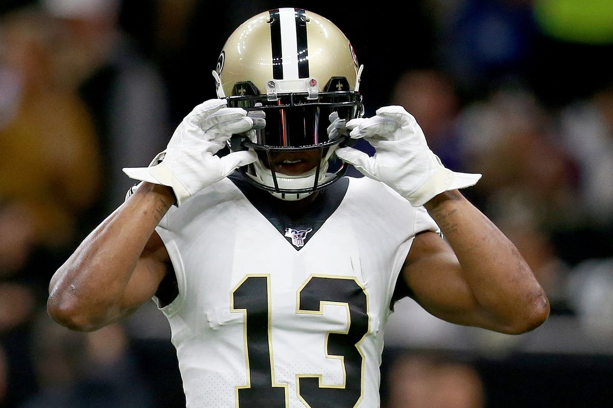 Michael Thomas of the New Orleans Saints warms up during the NFC Wild Card Playoff game against the Minnesota Vikings at Mercedes Benz Superdome on January 05, 2020 in New Orleans, Louisiana.