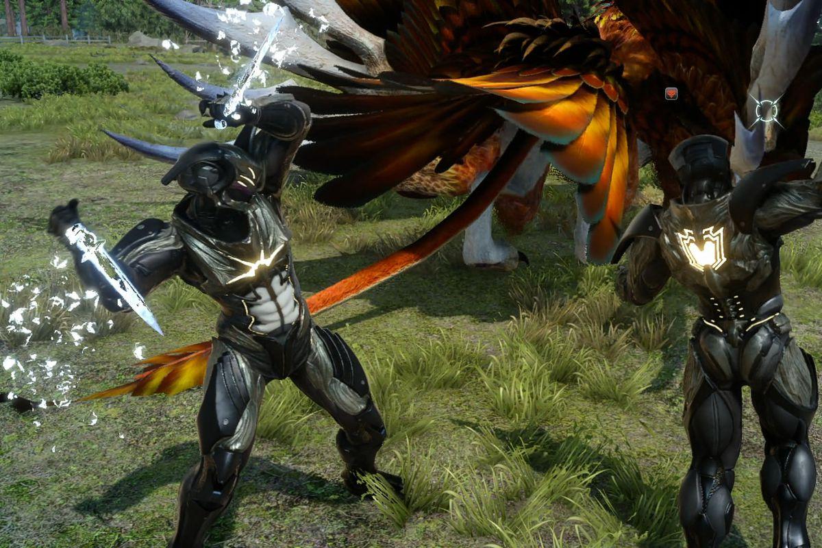 Characters in Magitek Exosuits in a screenshot of Final Fantasy 15