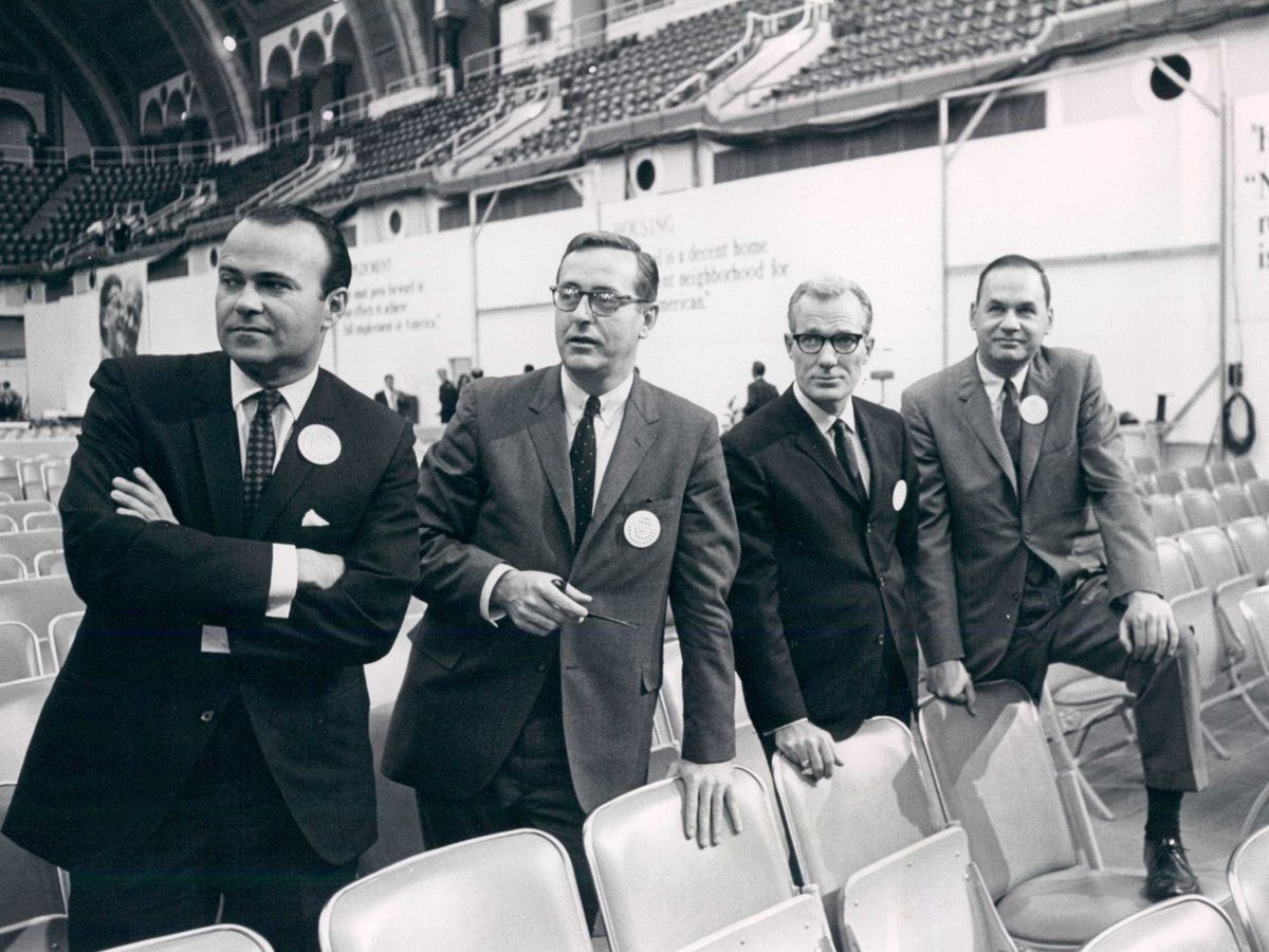 NBC news floor correspondents for its live coverage on the 1968 Republican and Democratic national conventions were (left to right) Sander Vanocur, John Chancellor, Frank McGee and Edwin Newman. | Sun-Times files