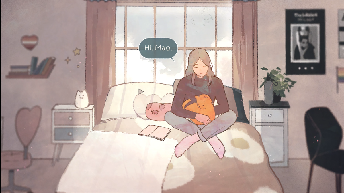 """A woman sitting on a bed with a cat with the text: """"Hi, Mao."""""""