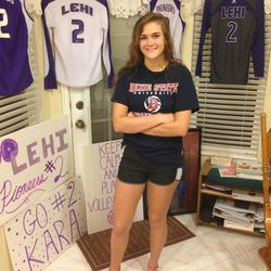 Kara Moore, Lehi setter, signed a volleyball scholarship with Dixie.