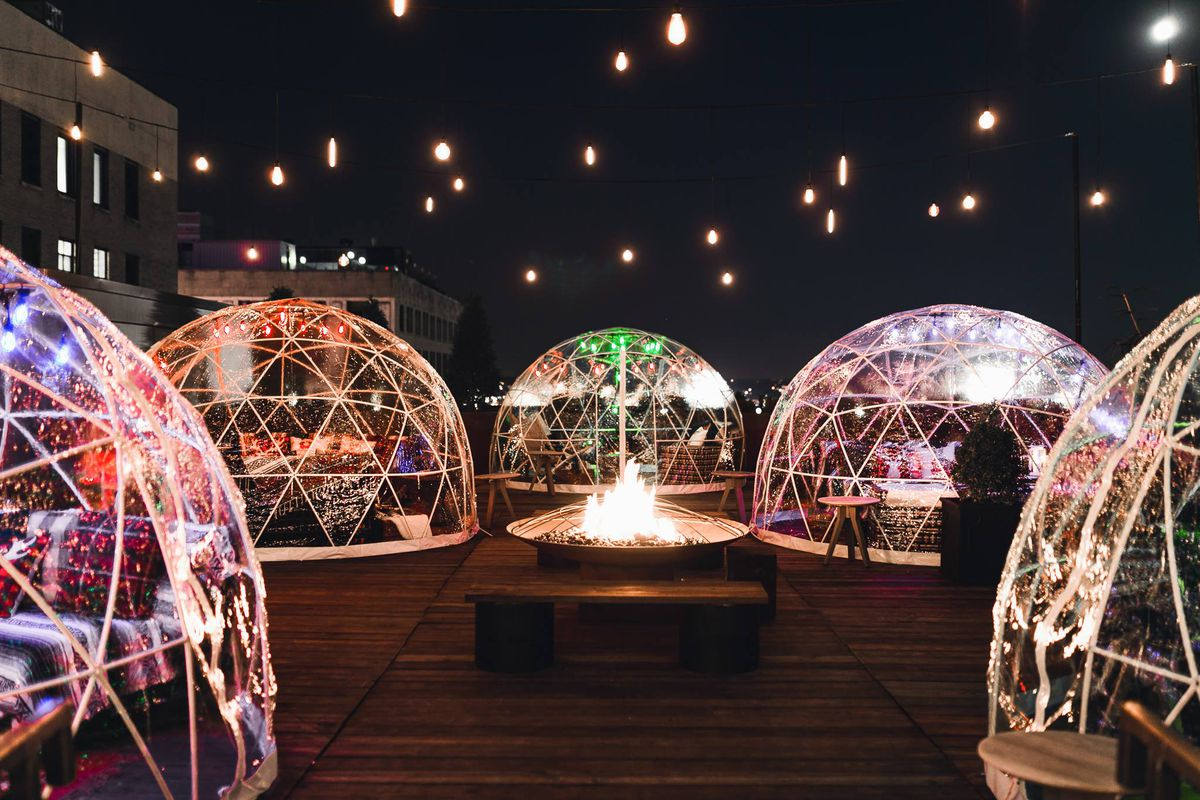 At Bobby Hotel S Rooftop Bar Find Heated Igloos And Spiked