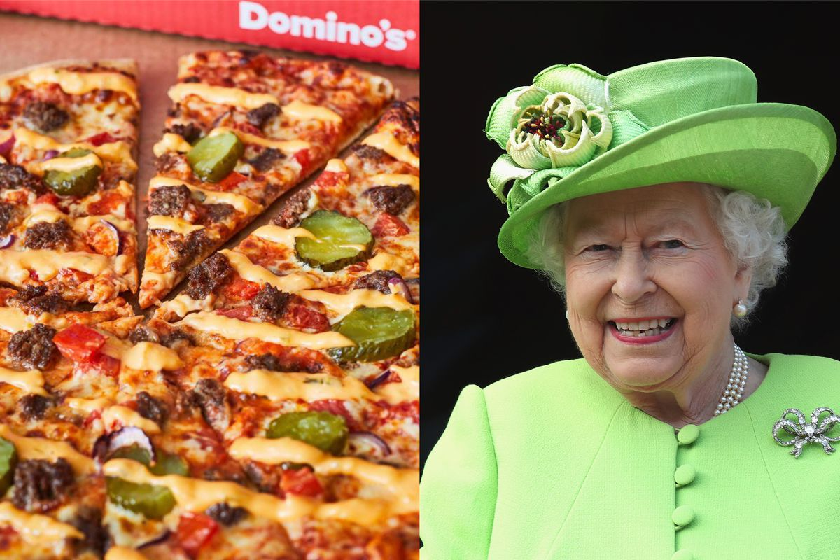 Dominos pizza delivery sent four pizzas to the Queen at Buckingham Palace in London