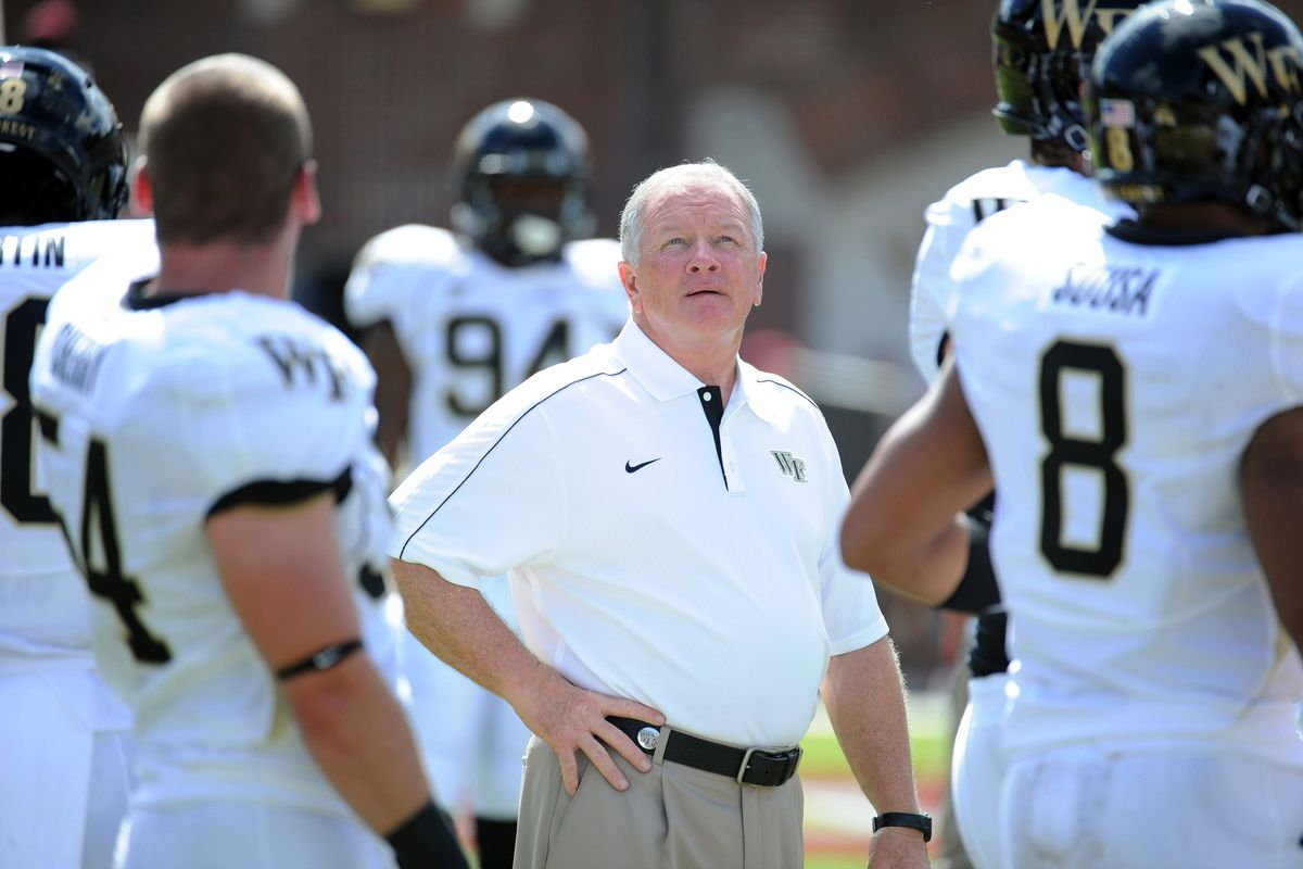 Sept 15, 2012;  Tallahassee, Florida, USA; Wake Forest Demon Deacons head coach Jim Grobe before the game against the Florida State Seminoles at Doak Campbell Stadium. Mandatory Credit: Melina Vastola-US PRESSWIRE