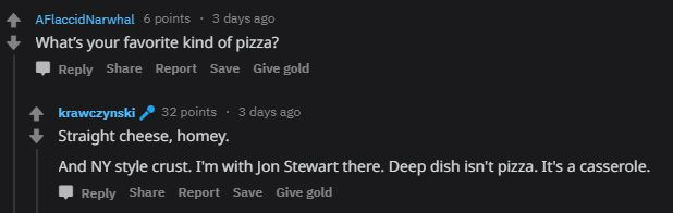 A screenshot of a reddit ama where Jon Krawczynski says he likes cheese pizza with an NY style crust