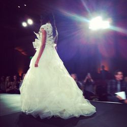 Guipure lace build-up ballgown with swirling honey comb tulle.
