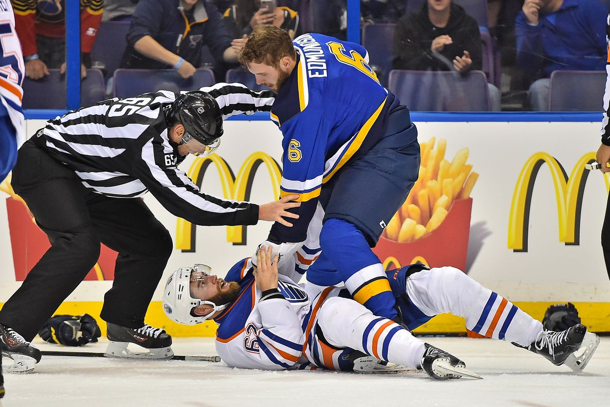 """""""...and STAY there ! """" Joel Edmundson was just one of the prospects who made a mark in his NHL debut for the Blues this week. Photo by"""