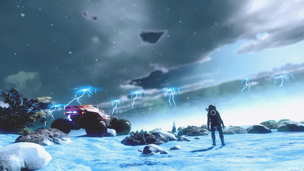 No Man's Sky - a player stands on an intimidating icy planet, watching a storm.