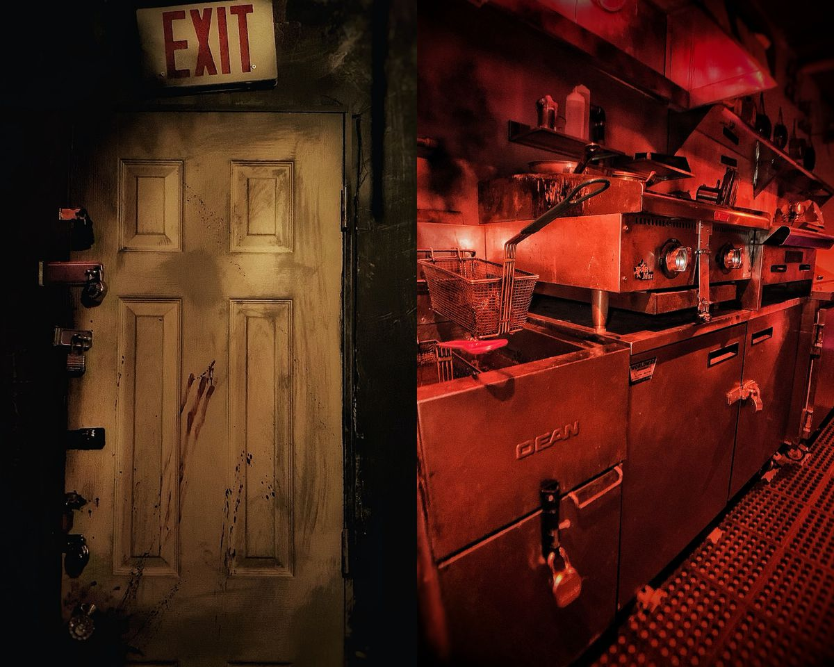 Diptych: A creepy-looking door with an exit sign, and a red-tinted photo of a grimy, derelict kitchen.