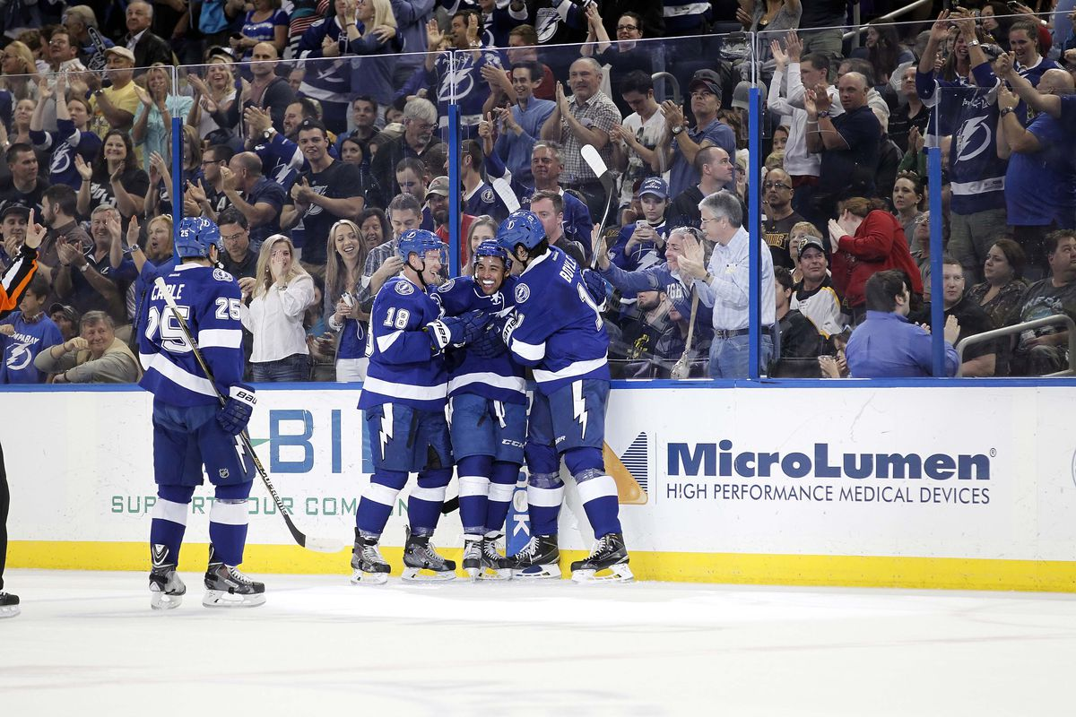 Tampa Bay's J.T. Brown celebrates his first period goal in Sunday's 5-3 win over Boston.