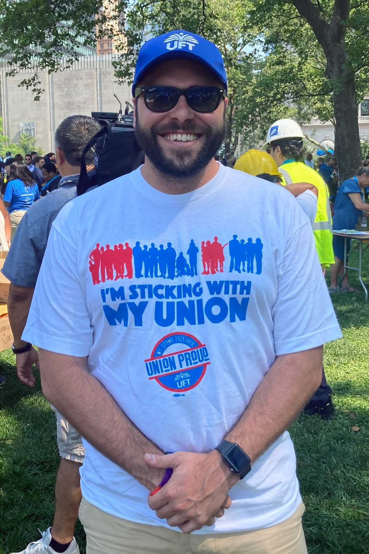 Bronx teacher Stephen Swieciki attended the essential workers parade in lower Manhattan on Wednesday, July 7, 2021.