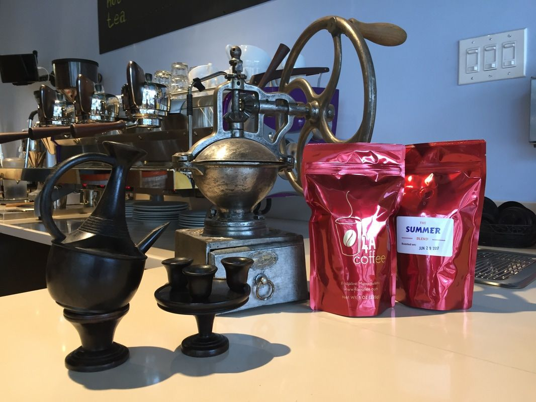 Bags of coffee and coffee-making tools