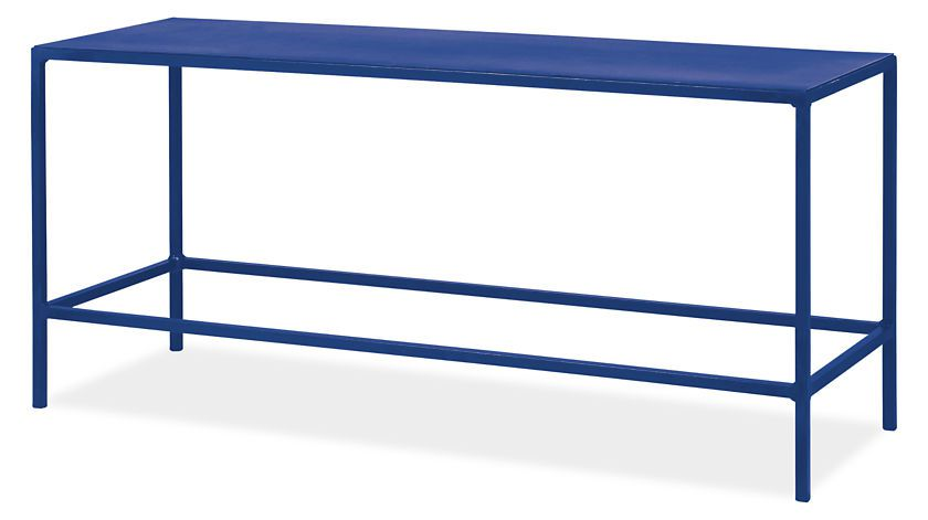 A cobalt blue rectangle coffee table on a white background.