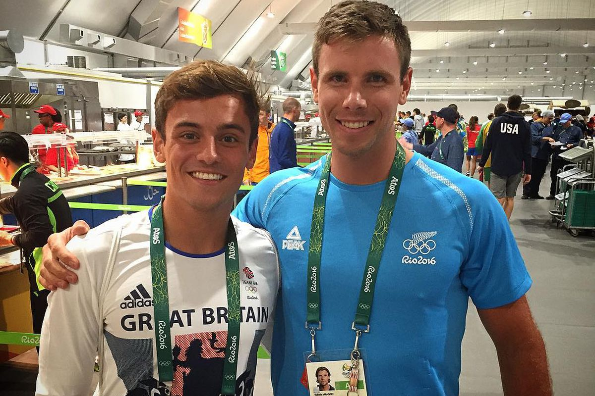 Out athletes diver Tom Daley, left, and rower Robbie Manson met in Rio at the Olympic Village