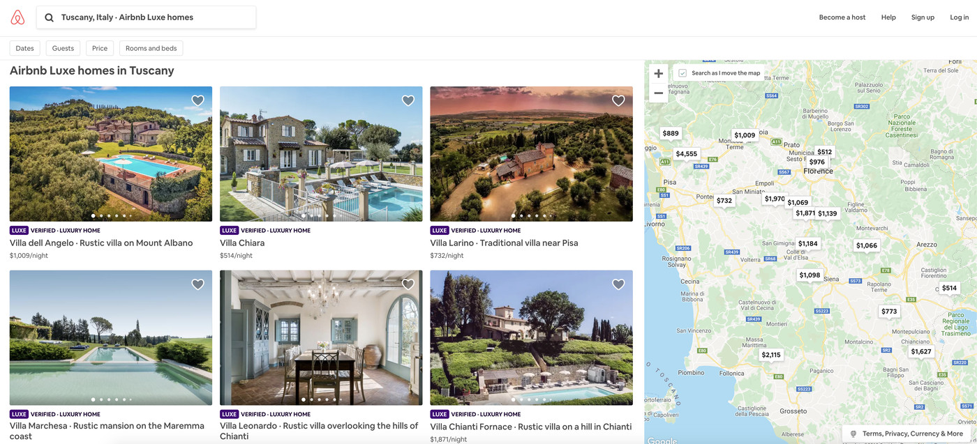 Airbnb now offers exorbitantly expensive home rentals as