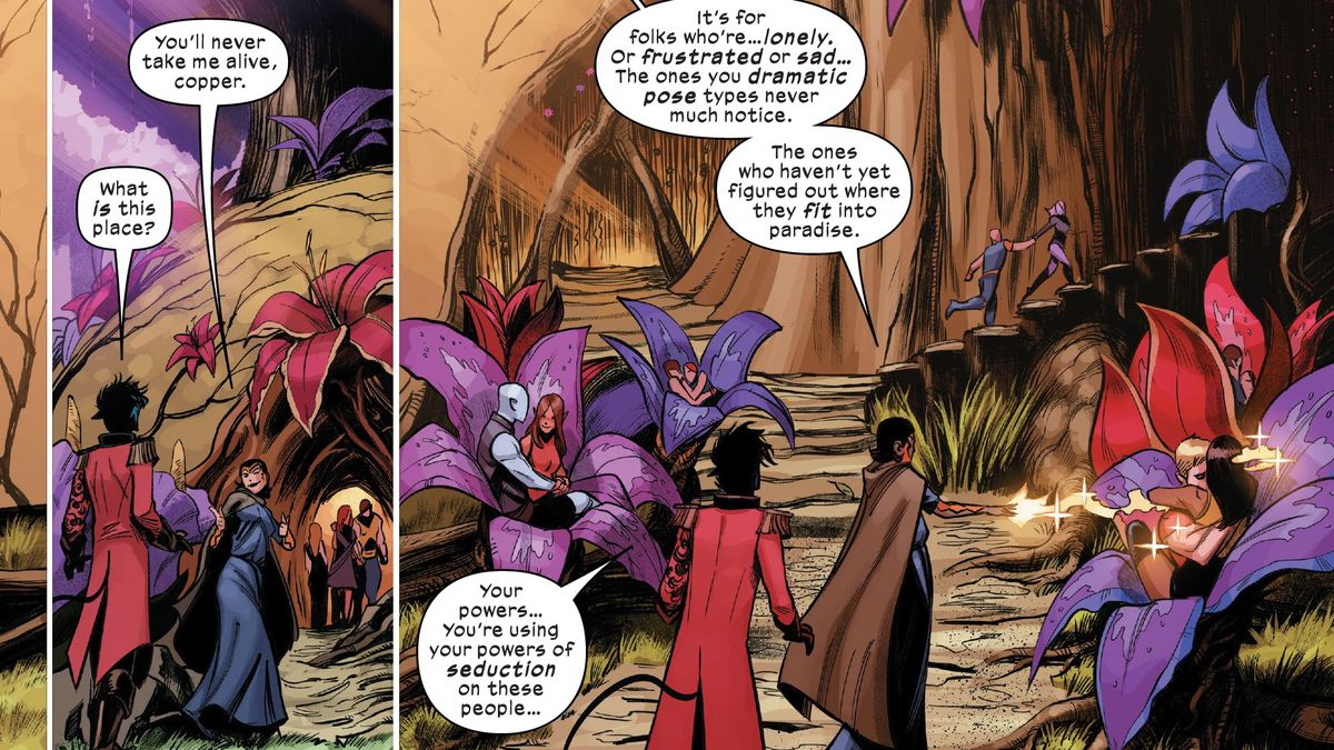 Stacy X brings Nightcrawler to the Bower, a sexy play space for mutants on Krakoa, full of couples communing in giant flowers in Way of X #3 (2021).