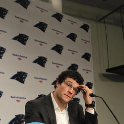 Luke Kuechly, the Carolina Panthers first-round NFL football draft pick, pauses as he speaks to the media during a news conference in Charlotte, N.C., Friday, April 27, 2012.