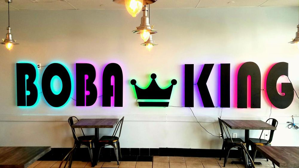 The interior mural at Boba King, still serving its full menu of teas, slushes and flavored drinks,